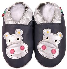 shoeszoo hippo grey 6-12m S new soft sole leather baby shoes