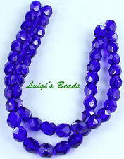 25 Cobalt Blue Czech Firepolished Faceted Round Glass Beads 6mm
