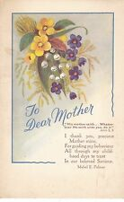 Greeting Postcard - To Dear Mother - Showing A Bunch of Flowers  A1923