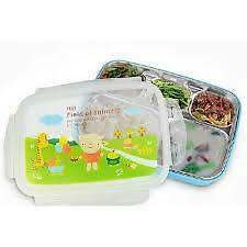 5 Compartments Bento Style Lunch Box with Spoon and Fork