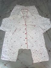 Womens Girls Flannel Pajamas 100% Cotton Charter Club Red White Birds EUC