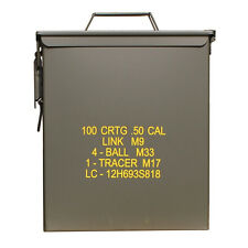 US M9 50 CAL Army Military Large Steel Metal Ammo Tool Storage Box Tin Green NEW