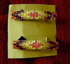 Native American Indian Pair of Beaded Hair Clip Barrettes