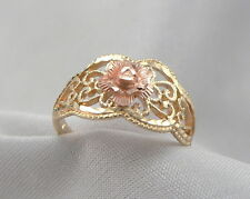 14K GOLD Filigree Ring Yellow Band Rose Gold Flower Beverly Hills Gold Size 6.75