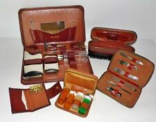 (5) Vintage LEATHER TOILETRY TRAVEL KITS Tommy Swank Pierre Cooper Safety Razor