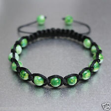 Green And White 8mm Glass Beads Black Adjustable Bracelet Boho Men Women Unisex