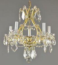 Marie Therese Style Crystal & Brass Chandelier Antique Vintage Gold Ornate
