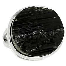 Black Tourmaline Rough 925 Sterling Silver Ring Jewelry s.7 BTRR122