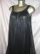 Vintage original noir MARY BARRON doux soyeux transparent chemise de nuit taille s
