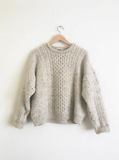 Beautiful Vintage Cable Knit Crew Grunge Cream Wool Jumper style urban acne sz L