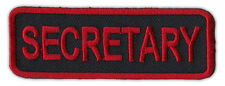 Motorcycle Jacket Embroidered Patch - Secretary - Rank, Position - Red/Black