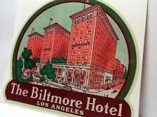 Biltmore Hotel Los Angeles Old Style Travel Decal / Vinyl Sticker, Luggage Label