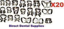 Dental Instruments ,Stainlees Steel Rubber Dam Clamp Assorted NO .Pkt Of 20