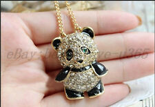 Lovely Love Heart Crystal Rhinestones Panda Animal Pendant Long Necklace Chain