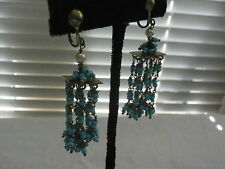 Dangle Wired Pearl and Turquoise Bead Earrings, unsigned Haskell
