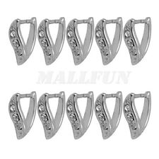 10 Pcs Silver Rhinestone Triangle Open Jump Rings Bails For Necklace Pendant