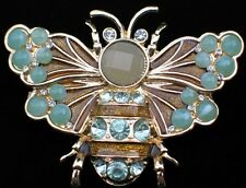 NIB NAPIER GOLD JADE GREEN INSECT FLYING BEETLE BEE BUG PIN BROOCH JEWELRY 2""