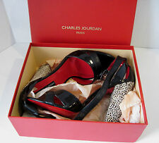 "Charles Jourdan Paris ""Ilene"" Black Ankle Strap Fashion Heel W/Box Sz 10 M, NEW"