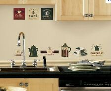 COFFEE HOUSE wall stickers 31 decals Pots Cups Cafe French Press Kitchen stickup