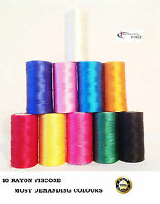 10 Vibrent Spools Sewing Machine Silk Embroidery Threads BROTHER,JANOME,GUTERMAN