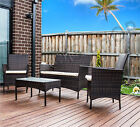 4 Pieces Outdoor PE Wicker Rattan Table Chair Set Garden Furniture coffee Brown