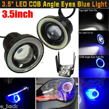 "3.5"" COB LED Fog Light Projector Car Blue Angel Eyes Halo Ring DRL Lamp Bulbs"