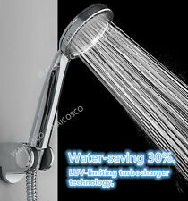 Super High Pressure Boosting Low Bath Shower Head Water Saving Health Filter UK