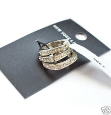 New York & Company Silvertone Faceted Crystal Three Ring Set Size 7 New