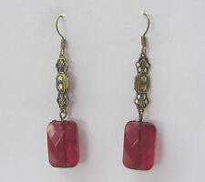ART DECO STYLE EARRINGS RECTANGULAR CHERRY RED ACRYLIC CRYSTAL DARK GOLD PLATED