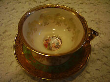 Le Mieux China Tea Cup and Saucer Heavenly Ladies and Cherub 24 Karat Gold