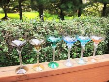 Vintage Multi-Colored Champagne Coupes Glasses Long Twisted Stems Set of 6