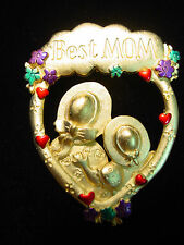 """JJ"" Jonette Jewelry Gold Pewter 'BEST Mom' Pin"