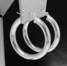"5mm X 40mm 1 1/2"" Bold Thick Shiny Hoop Earrings Real 925 Sterling Silver QVC"