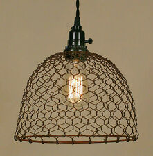 Vintage Rustic Industrial Chicken Wire Dome Pendant Light Lamp Primitive Rust