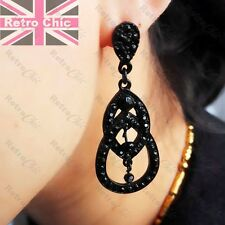 "2""BLACK EARRINGS jet crystal ANTIQUE STYLE victorian TEARDROP vintage RHINESTONE"
