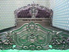 MATT BLACK King Size 5' Designer Frech Rococo Gothic style Bed with upholstery