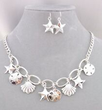 Silver Link Shell Starfish Dangle Necklace Set Fashion Jewelry NEW