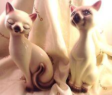 Pair vintage midcentury ceramic siamese cat figures airbrushed details UCGC