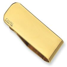 Chisel Stainless Steel Polished Yellow IP Plated Engravable Money Clip