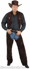BROWN COWBOY CHAPS & VEST ADULT HALLOWEEN COSTUME MEN'S SIZE SMALL 36-38