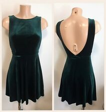 Beautiful Bottle Green Velvet Sexy Open Back Skater Party Dress Size 16