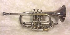 Antique Silver Antoine Courtois Cornet in Original Wood Case Extra Mouthpiece 18