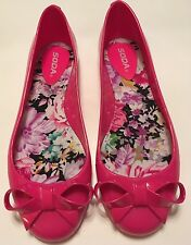 New Retro Vintage Pinup Lolita Soda Bright Hot Pink Plastic Bow Ballet Flats 10