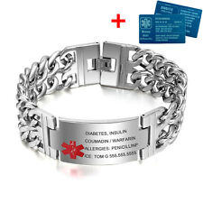 "8.5"" Free Engraving Emergency Medical Alert ID Bracelet Medical Aluminium Card"
