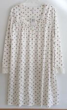 NWT ARIA LONG SLEEVE, SHORT NIGHTGOWN-SIZE XL-IVORY PRINT-$54-BEAUTIFUL AND SOFT