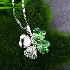 Women's Charm Crystal Lucky Four Leaf Clover Heart Pendant Necklace Chain