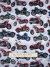 Road Fabric - Multicolor Motorcycles on Gray - Timeless Treasures YARD