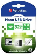Verbatim Store 'n' Stay Nano 32GB USB 2.0 Flash Stick Pen Memory Drive - Black