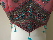 Elegante Bollywood Sari Blusa Rosa/Azul Sari Indio Superior de Danza del Vientre