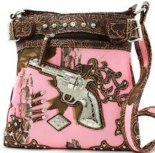 Pink-Brown Mossy Camo Crystals Guns Full Size Cross Body Purse Bag NR Auction